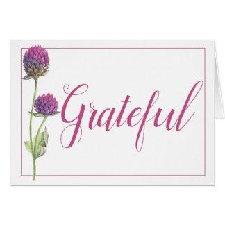 Simple Watercolor Amaranth Thistle Flower Wedding Card