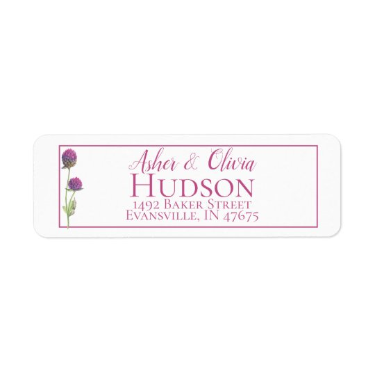 Simple Watercolor Amaranth Thistle Flower Wedding Return Address Label