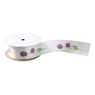 Simple Watercolor Amaranth Thistle Flower Wedding Satin Ribbon