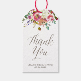 Simple Watercolor Bouquet Bridal Shower Thank You Gift Tags