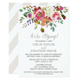Simple Watercolor Bouquet Elopement Reception Card