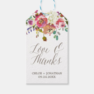 """Simple Watercolor Bouquet """"Love & Thanks"""" Wedding Gift Tags"""