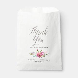 Simple Watercolor Bouquet Wedding Favor Bags Favour Bags