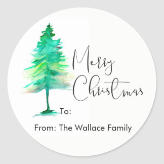 Simple, Watercolor Christmas Pine tree Classic Round Sticker