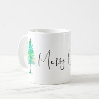 Simple, Watercolor Christmas Pine tree, Custom Coffee Mug