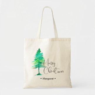 Simple, Watercolor Christmas Pine tree Tote Bag