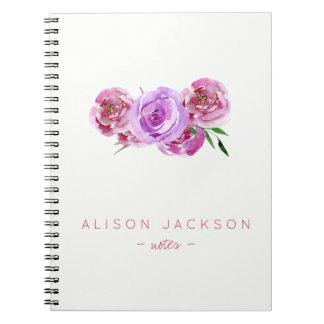 Simple watercolor floral bouquet mauve blush notebook