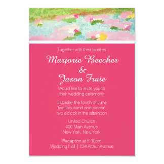 Simple Watercolor Lillies Wedding Invitation Pink