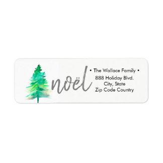Simple, Watercolour Christmas Pine tree Return Address Label