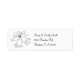 Simple wedding bells custom return address labels