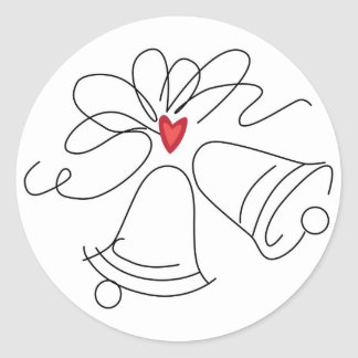 Simple wedding bells envelope seal stickers