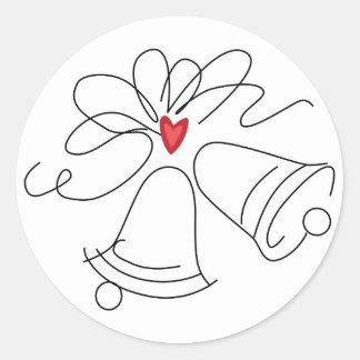 Simple wedding bells envelope seal stickers