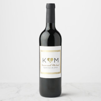 simple wedding love monogram on white wine label