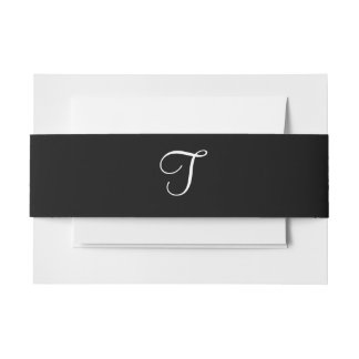 Simple Wedding Monogram Black White Designer Color Invitation Belly Band