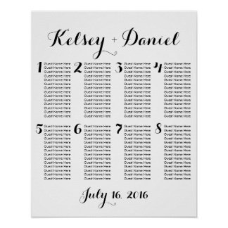 Simple Wedding Seating Chart - fewer tables
