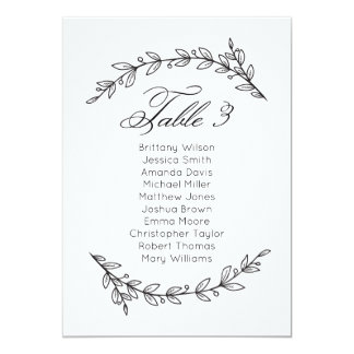 Simple wedding seating chart floral. Table plan 3 Card
