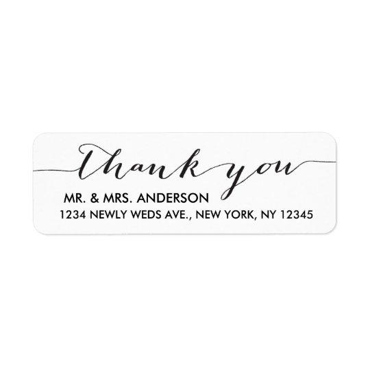 Simple Wedding Thank You Black White Return Address Label