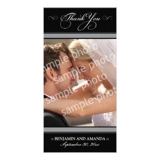 Simple Wedding Thank You Photocard (black) Customized Photo Card