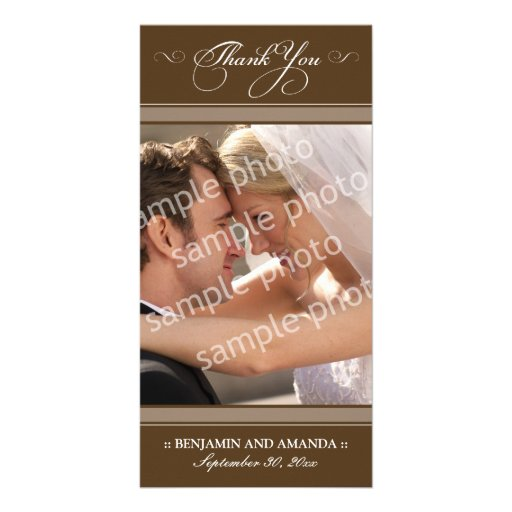 Simple Wedding Thank You Photocard (chocolate) Photo Card Template