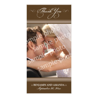 Simple Wedding Thank You Photocard (chocolate) Personalized Photo Card
