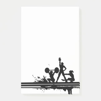 Simple Weightlifting Exercise Yoga Silhouette Post-it Notes