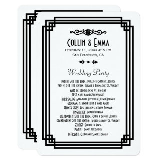 Simple White and Black Art Deco Wedding Programs