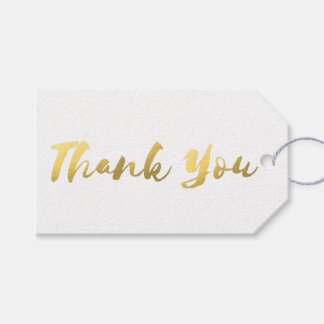 Simple White and Faux Gold Foil Thank You Gift Tag