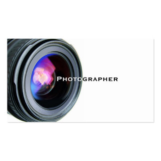 Simple White and Lens Photographer Business Card
