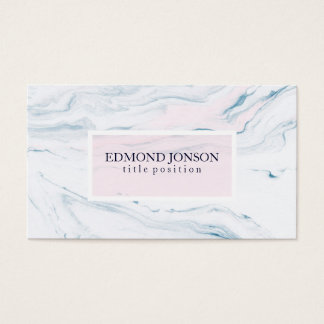 Simple White And Pink Marble Business Card