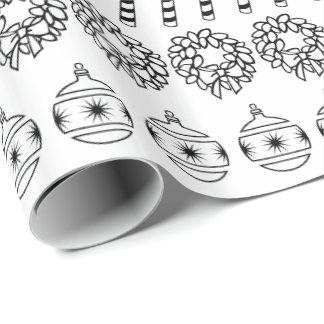 Simple White/Black Rows Christmas Font Pattern Wrapping Paper