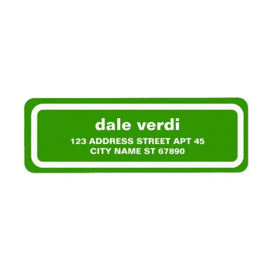 Simple White Border Return Address Label, Green Return Address Label