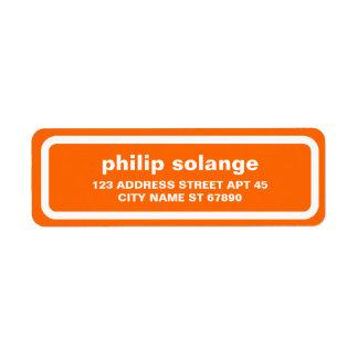 Simple White Border Return Address Label, Orange Return Address Label