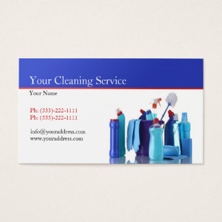 Simple White Cleaning Service Business Card