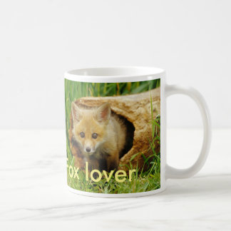 simple white cup with fox cub