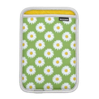 Simple White Daisy on Green Pattern iPad Mini Sleeves