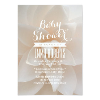 """Simple White Floral Baby Shower 5"""" X 7"""" Invitation Card"""
