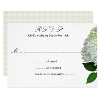 Simple White Floral Hydrangea Wedding Reply Cards