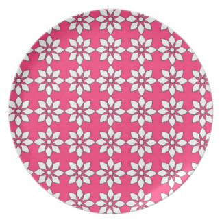 Simple White Flowers On Pink Party Plates