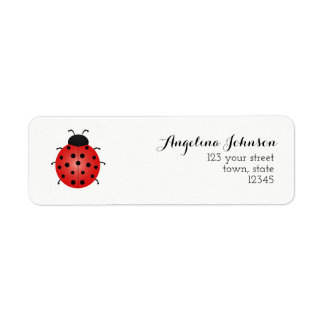 Simple White For Her Ladybug Beautiful Chic Girl Return Address Label
