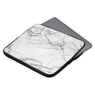 Simple White & Gray Marble Print Laptop Sleeve