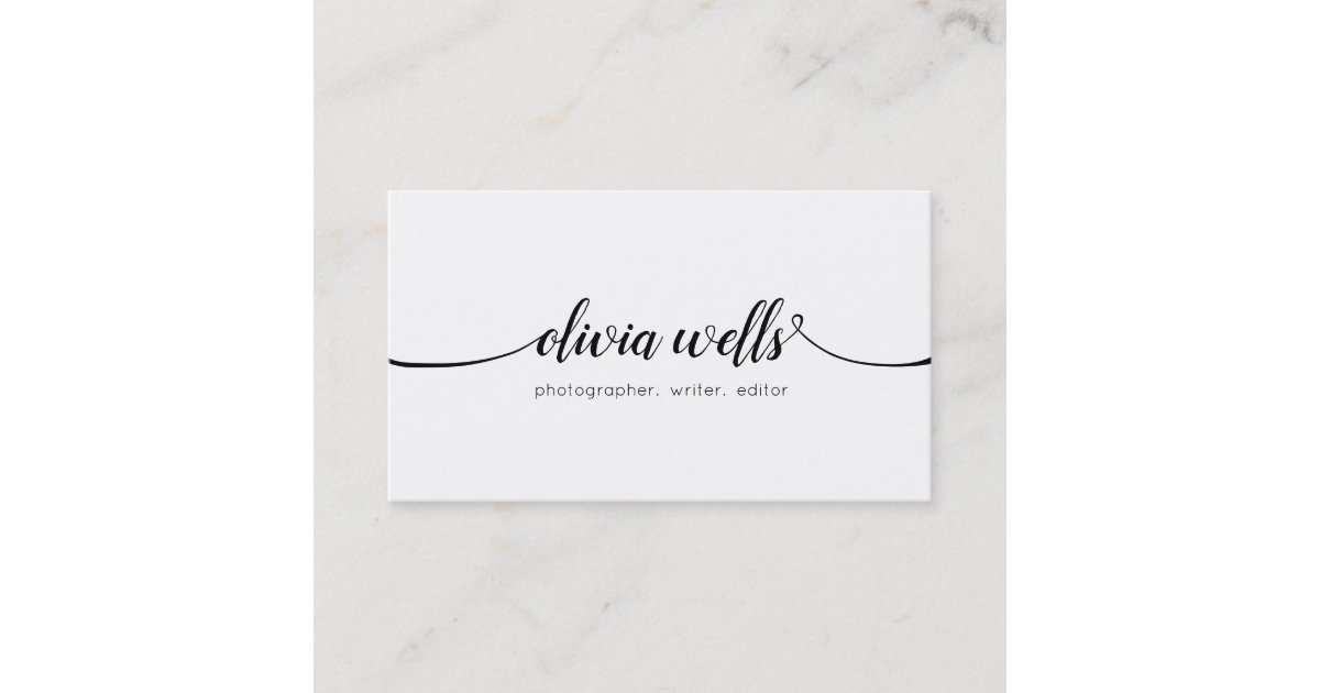 Simple White Handwritten Script Calligraphy Business Card | Zazzle ...