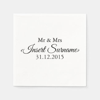 Simple White Personalised Wedding Day Napkins Disposable Napkin
