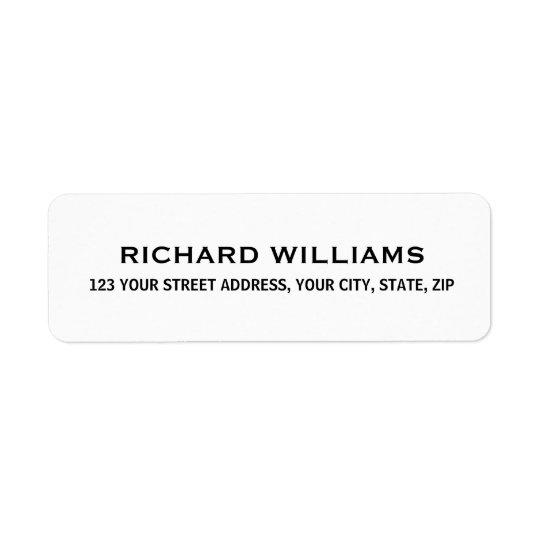 Simple white return address return address label