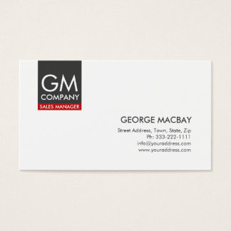 Simple White Sales Manager Monogram Business Card