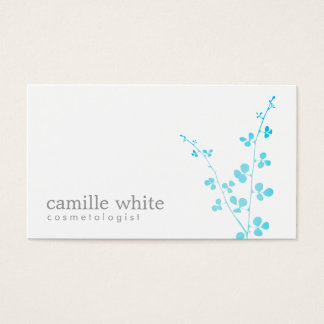 Simple White Turquoise Branch Salon and Spa Business Card