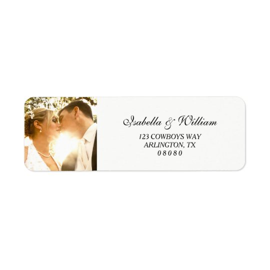 Simple White with your Photo Wedding Return Address Label