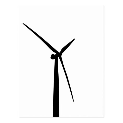 Simple wind turbine green energy silhouette postcard