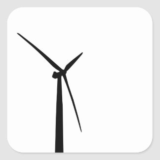 Simple wind turbine green energy silhouette square sticker