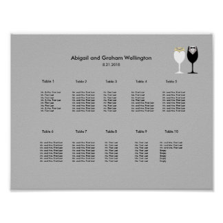 Simple Wineglasses Seating Chart Poster