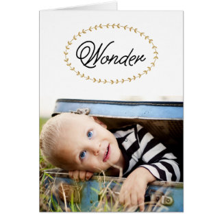 Simple Wonder Gold Glitter Photo Greeting Card